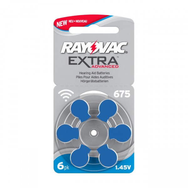 6er Rad Rayovac Hörgerätebatterie 675AE Ultra Zinc Air Extra Advanced - 1,45V / 640mAh