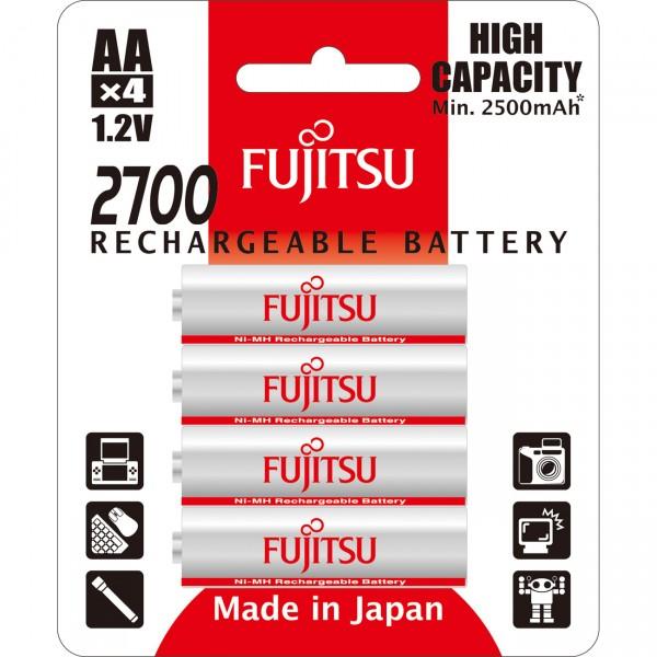4er Blister Fujitsu Mignon High Capacity Akku - HR3UAEU -1,2V / 2700mAh / NIMH -1,2 Volt AA Akkus