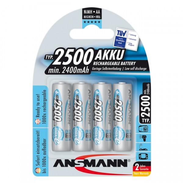 4er Blister Ansmann maxE plus Akku Mignon - 1,2V / 2500mAh / NIMH - 1,2 Volt AA Ni-MH