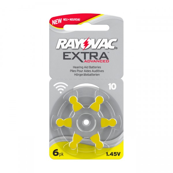 6er Rad Rayovac Hörgerätebatterie 10AE Ultra Zinc Air Extra Advanced - 1,45V / 105mAh Batterie