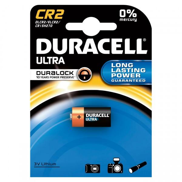 1er Blister - Duracell Photobatterie CR2 Ultra Lithium - 3V / 850mAh High Power Lithium Batterie