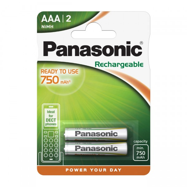 2er Blister - Panasonic Ready to Use Micro AAA Akku - 1,2V / 750mAh / NIMH