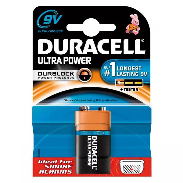 1er Blister - Duracell MN1604 Ultra Power 9V-Blockbatterie - 9 Volt Alkaline Batterie Block