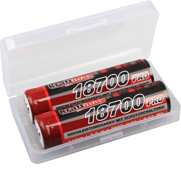 2x kraftmax 18650 Li-Ion Akku - 3,7V / 2600mAh - 18700 Akkus mit PCM Schutzschaltung für Taschenlamp
