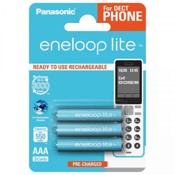 3er Blister eneloop lite Micro Akku - 1,2V / 600mAh / NIMH - 1,2 Volt AAA Akkus für DECT Telefon