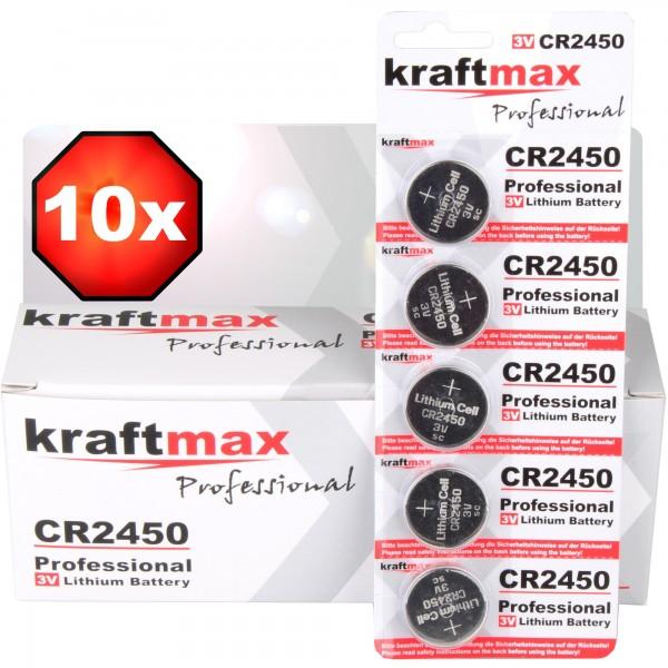 Kraftmax 10er Pack CR2450 Lithium Hochleistungs- Batterie / 3V CR 2450 Knopfzelle für professionelle