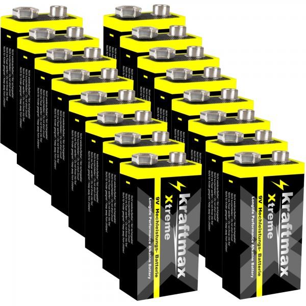 Kraftmax 16er Pack Xtreme 9V Block Hochleistungs- Batterien ideal für 10 Jahres Rauchmelder - 6LR61