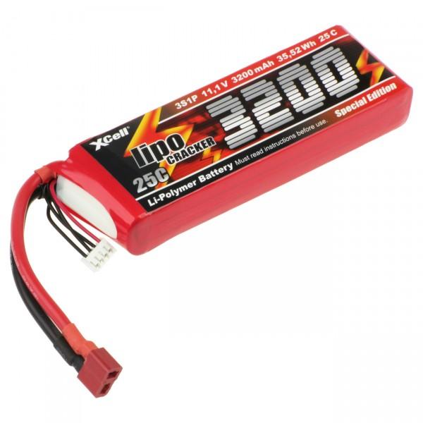 XCell LiPo Cracker - 11,1V / 3200mAh Li-Poly - 3S1P - T-Buchse / EHR- XH- T-Buchse