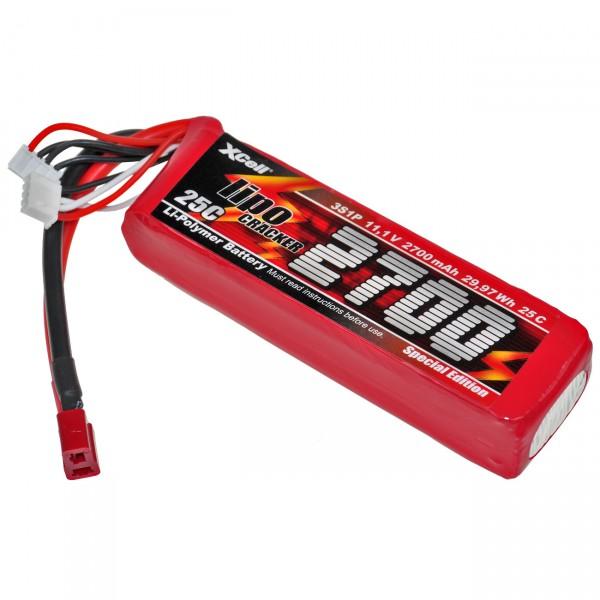 XCell LiPo Cracker Akku Pack - 3S1P - 11,1V / 2700mAh / Li-Poly - 11,1 Volt Akkupack