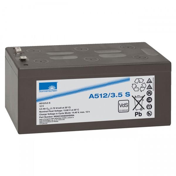 Sonnenschein Dryfit A512/3.5S - 12V / 3,5Ah - Faston 4,8 / Blei Akku mit VdS Zulassung
