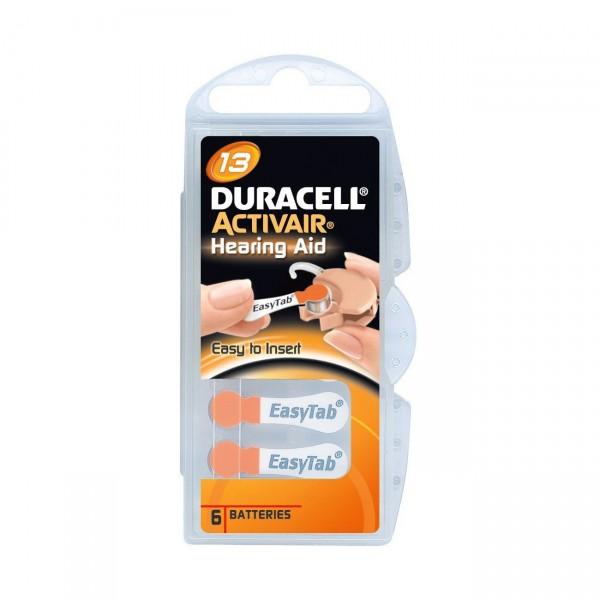 6er Pack Duracell Hörgerätebatterie Activair 13 - 1,45V / 290mAh - Zink Luft Hörgeräte Batterie