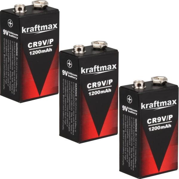 3x Kraftmax 9V Block Lithium Hochleistungs- Longlife Batterien für Rauchmelder / Feuermelder - 10 J-