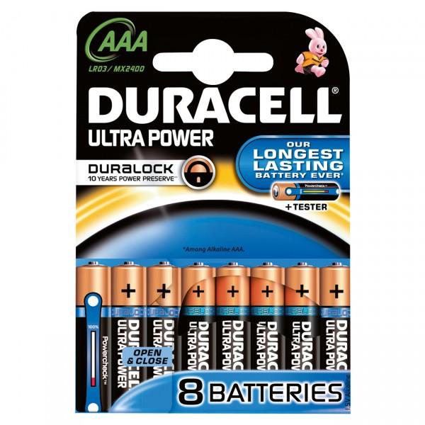 8er Blister Duracell MN2400 Ultra Power 1,5V Micro Alkaline Batterie - 1,5 Volt AAA Batterien
