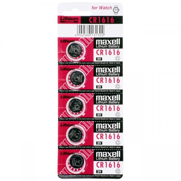 5er Blister Maxell Lithium-Knopfzelle CR1616 - 3V / 50mAh - 3 Volt CR 1616 Lithium Batterie