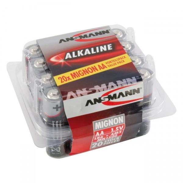 20er Box Ansmann LR06 Red Alkaline 1,5V Mignon Batterie - 1,5 Volt AA Alkali Batterien
