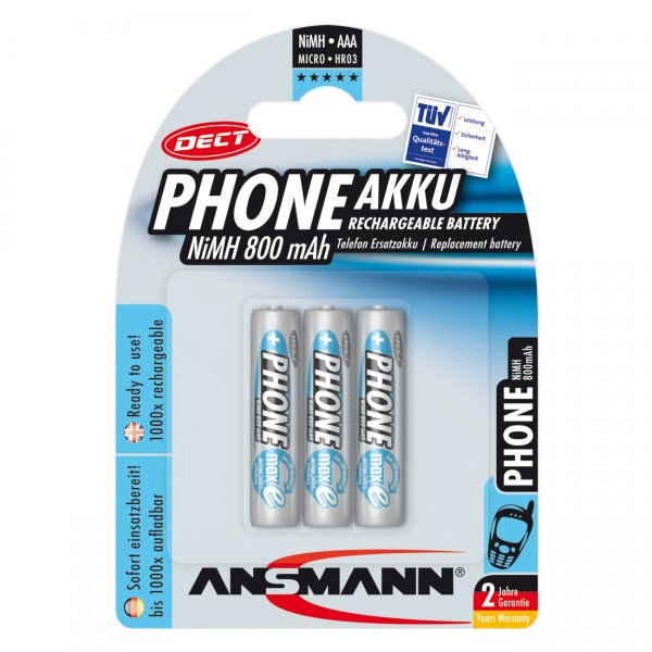 3er Blister Ansmann DECT Micro AAA Akku - 1,2V / 800mAh / Ni-MH