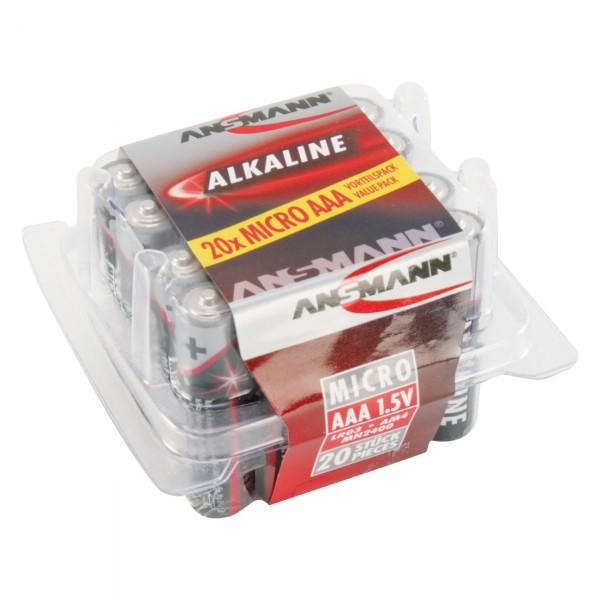 20er Box Ansmann LR03 Red 1,5V Alkaline Micro AAA Batterie