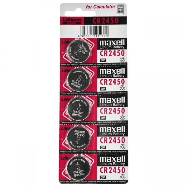5er Blister Maxell Lithium Knopfzelle CR2450 - 3V / 620mAh - 3 Volt CR 2450 Batterie