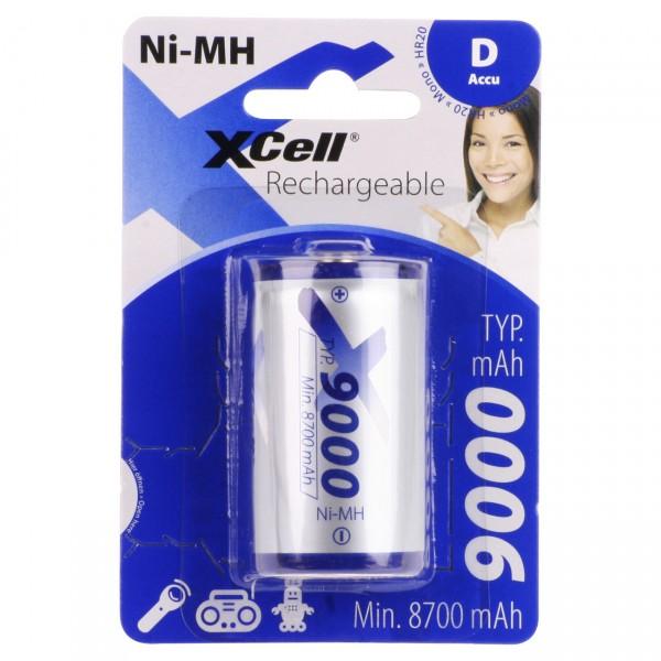 1er Blister XCell Mono D Akku - 1,2V / 9000mAh / NIMH - 1,2 Volt HR20 Ni-MH