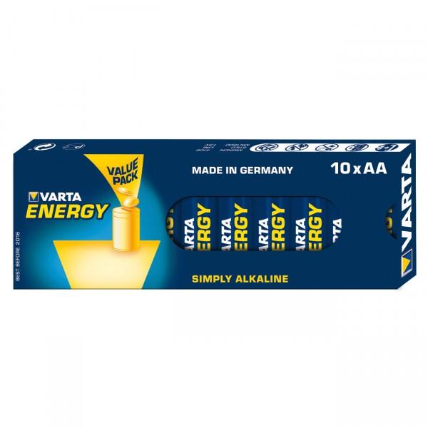 10er Pack Varta Energy Alkaline Mignon Batterie - 1,5V / 2800mAh - 1,5 Volt AA Alkali Batterien