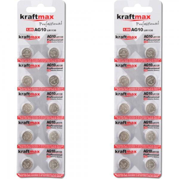 Kraftmax 20er Pack Knopfzelle Typ 389 (AG10 / LR1130 / LR54) Hochleistungs- Batterie / 1,5V Uhrenbat