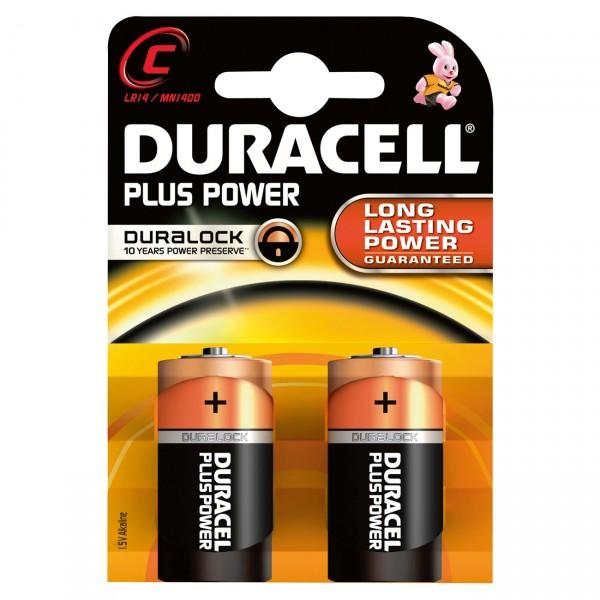 2er Blister - Duracell Plus Power MN1400 Batterie - 1,5V Baby C Batterien