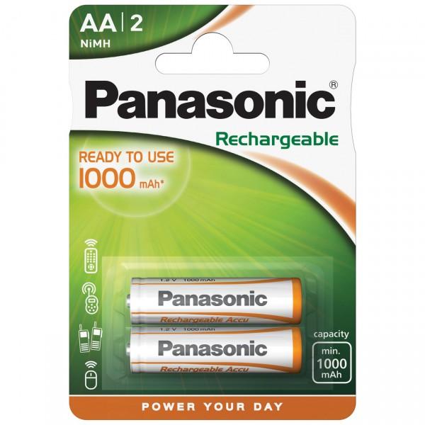 2er Blister Panasonic Stay Charged Mignon Akku - 1,2V / 1000mAh / NIMH - 1,2 Volt AA Ni-Mh