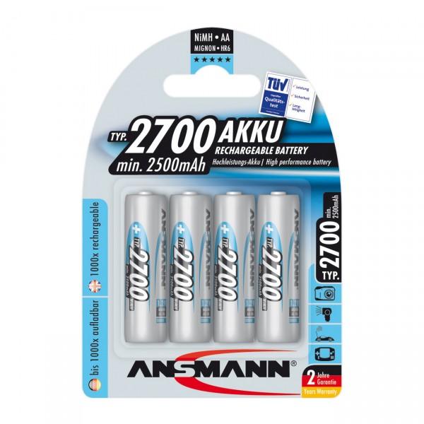 4er Blister Ansmann Photo Akku Mignon AA Batterie - 1,2V / 2700mAh / NIMH - 1,2 Volt AA Ni-Mh