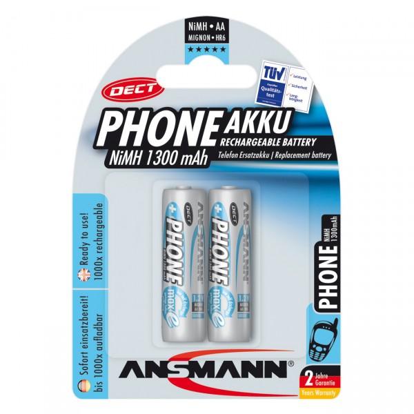 2er Blister Ansmann DECT Telefon Akku Mignon AA - 1,2V / 1300mAh / NIMH