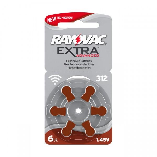 6er Pack Rayovac Hörgerätebatterie 312AE Ultra - Batterie für Hörgeräte