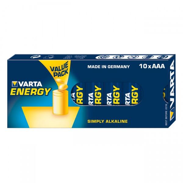 10er Pack Varta Energy Micro Alkaline Batterie - 1,5V / 1200mAh - 1,5 Volt AAA Alkali Batterien