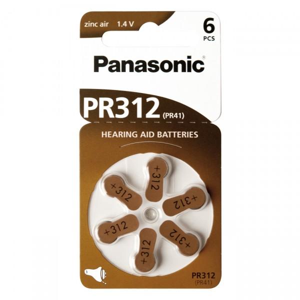 6er Rad Panasonic Hörgerätebatterie PR-312 - 1,45V / 170mAh - Zink Luft Hörgeräte Batterie