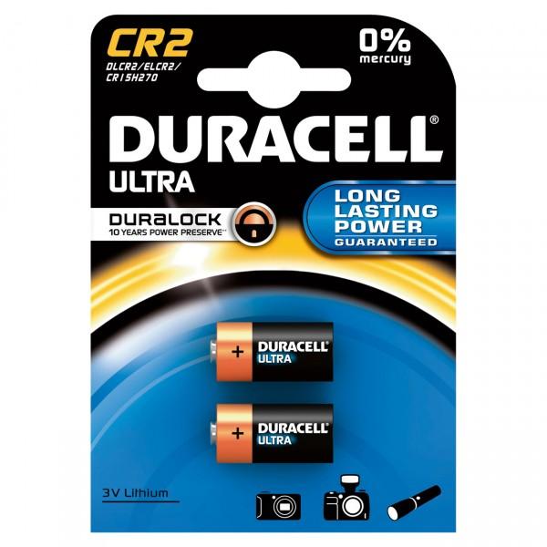 2er Blister Duracell Photobatterie CR2 Ultra Lithium - 3V / 850mAh - 3 Volt Photo Batterie