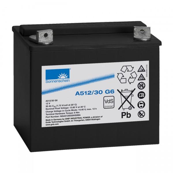 Sonnenschein Dryfit Blei-Akku - A512/30G6 - 12V / 30000mAh / Pb - Blei Akku mit M6 Innengewinde / Vd