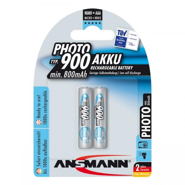 Ansmann Photo Akku Micro AAA Ni-MH 1,2V / 900mAh 2er Blister