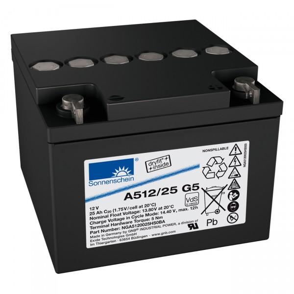 Sonnenschein Dryfit A512/25G5 - 12V / 25Ah - M5 Innengewinde / Blei Akku mit VdS Zulassung