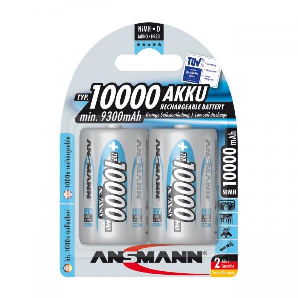 2er Blister Ansmann Akku Mono D - 1,2V / 10000mAh / NIMH - 1,2 Volt Ni-MH MonoD