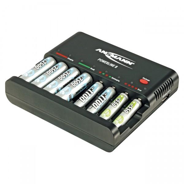Ansmann Powerline 8 inkl. USB-Ladebuchse - Ladegerät für AAA Micro / AA Mignon Akkus