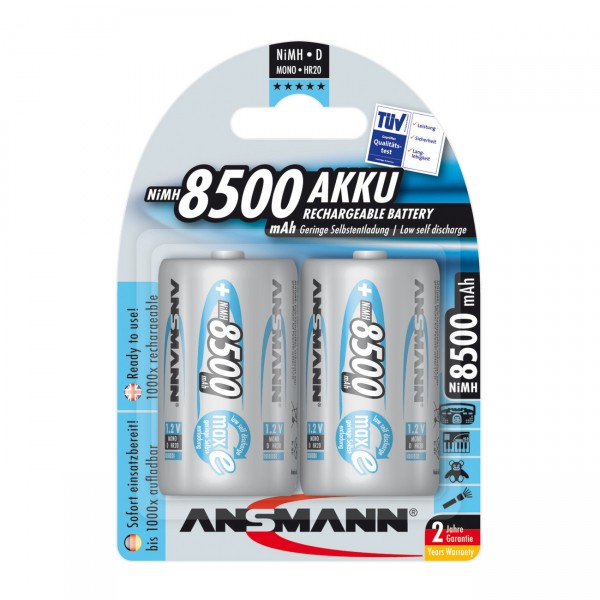 2er Blister Ansmann maxE Mono D Akku - 1,2V / 8500mAh / NIMH - 1,2 Volt Ni-MH MonoD