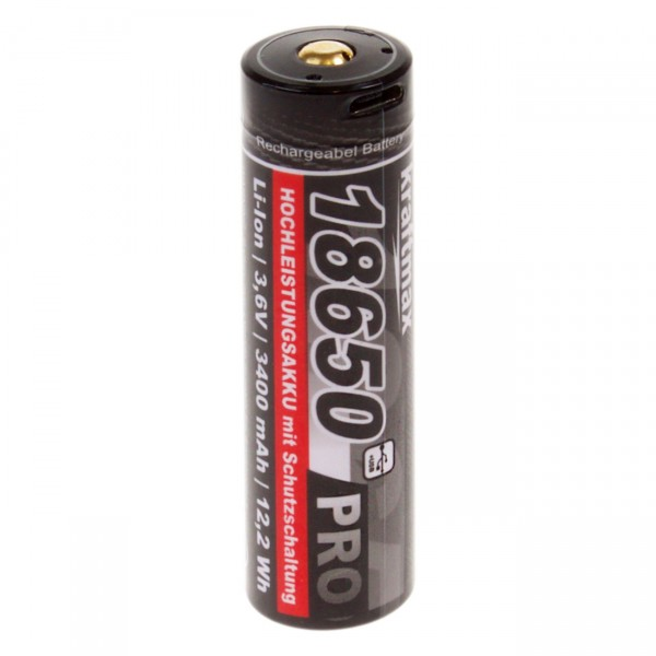 Kraftmax 18650 Pro USB Akku mit PCB Schutz für LED Taschenlampen - 3,6V / 3400mAh / 12,2 Wh