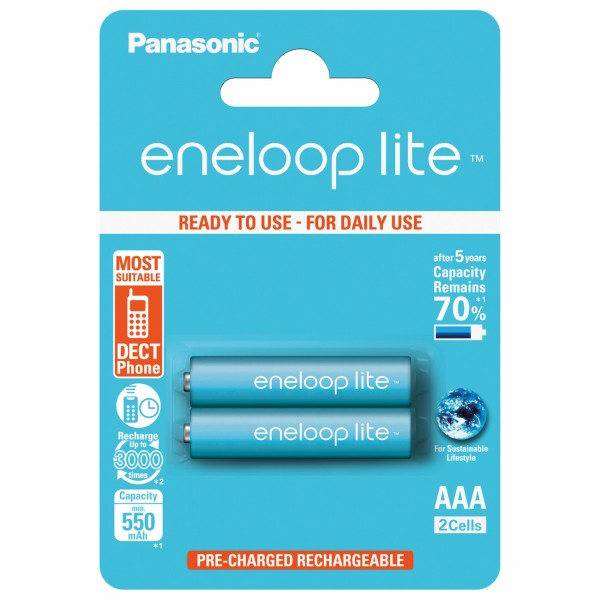2er Blister - Pansonic eneloop lite Micro AAA Akkus - 1,2V / 600mAh / NIMH