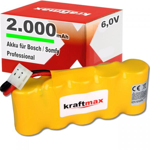 1x Kraftmax Akku für Bosch SOMFY K8 K10 K12 - 6V / 2000mAh NIMH