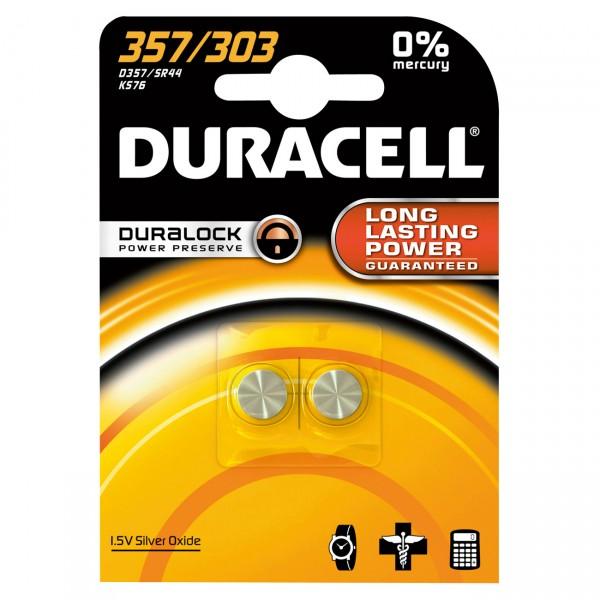 2er Blister Duracell Uhrenbatterie D357 - 1,55V / 190mAh / AgO - Batterie für Uhr