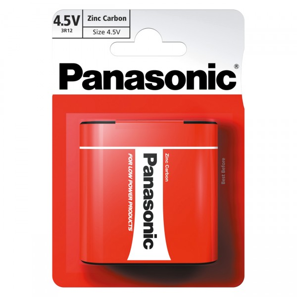 1er Blister Panasonic Red Zinc Flachbatterie - 3R12RZ - 4,5V / 1800mAh / Zn/C - 4,5 Volt Batterie