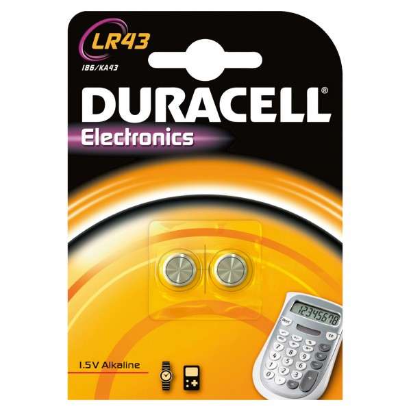Duracell Alkaline-Knopfzelle LR43 Alkaline 1,5V / 73mAh 2er Blister