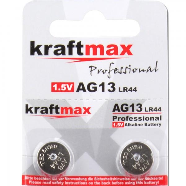 Kraftmax 2er Pack Knopfzelle Typ 357 (AG13 / LR1154 / LR44) Hochleistungs- Batterie / 1,5V Uhrenbatt