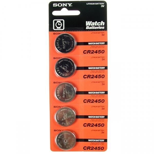 5er Blister Sony Lithium-Knopfzelle CR2450 - 3V / 610mAh - 3 Volt CR 2450 Lithium Batterie