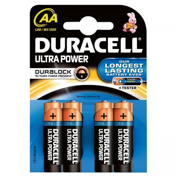4er Blister - Duracell MN1500 Ultra Power Batterie - 1,5V Alkaline Mignon AA mit Powercheck