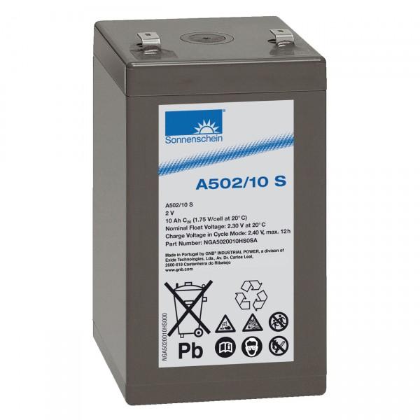 Sonnenschein Dryfit Blei-Akku A502/10S - 2V / 10Ah - Blei Akku mit Faston 4,8 Anschluss