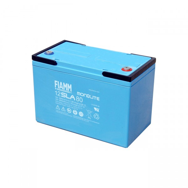Fiamm Blei-Akku 12SLA80L MonoLite Pb 12V / 80Ah >12 Jahresbatterie